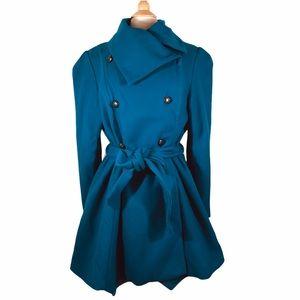 Sean John turquoise wool blend fit flare coat 1X